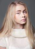 Retrato de una muchacha hermosa del adolescente con el pelo largo Imagenes de archivo