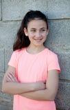 Retrato de una muchacha hermosa del preadolescente con los ojos azules Fotos de archivo