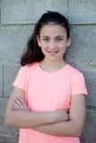 Retrato de una muchacha hermosa del preadolescente con los ojos azules Imagen de archivo