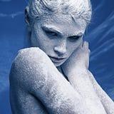 Retrato de una muchacha hermosa en la helada Imagen de archivo libre de regalías