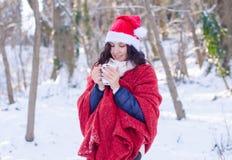 Retrato de una muchacha sonriente hermosa en el sombrero de santa en bosque del invierno Fotos de archivo libres de regalías