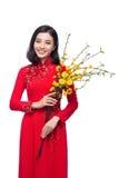 Retrato de una mujer asiática hermosa en coste tradicional del festival Imágenes de archivo libres de regalías