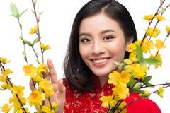 Retrato de una mujer asiática hermosa en coste tradicional del festival Fotos de archivo