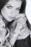 Retrato de una mujer atractiva del invierno imagen de archivo