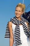 Retrato de una mujer bonita de la navegación. Foto de archivo libre de regalías