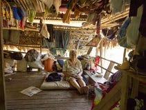 Retrato de una mujer de 96 años, la más vieja persona en la tribu de Embera Drua Fotografía de archivo