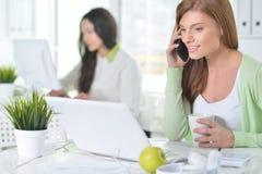 Retrato de una mujer de negocios agradable con un ordenador portátil Imagen de archivo libre de regalías