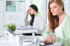 Retrato de una mujer de negocios agradable con un ordenador portátil Fotografía de archivo libre de regalías