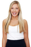 Retrato de una mujer de negocios joven feliz   Imágenes de archivo libres de regalías