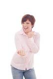 Retrato de una mujer de negocios joven feliz Fotos de archivo libres de regalías