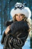 Retrato de una mujer del carnaval del invierno Imagen de archivo libre de regalías