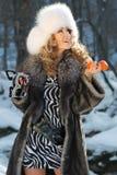Retrato de una mujer del carnaval del invierno Fotografía de archivo libre de regalías