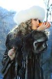 Retrato de una mujer del carnaval del invierno Imágenes de archivo libres de regalías