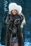 Retrato de una mujer del invierno Fotografía de archivo