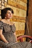 Retrato de una mujer embarazada joven en estilo rural Imagen de archivo libre de regalías