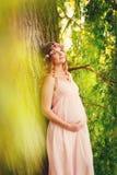 Retrato de una mujer embarazada joven hermosa Foto de archivo