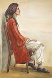 Retrato de una mujer en el traje griego Fotos de archivo libres de regalías