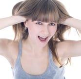 Retrato de una mujer feliz emocional joven Imagen de archivo