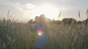 Retrato de una mujer feliz en un vestido y un sombrero ligeros La muchacha camina en el campo con las plantas del cereal en la pu almacen de video