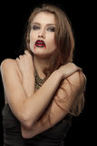 Retrato de una mujer gótica pálida del vampiro Fotografía de archivo libre de regalías