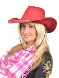 Retrato de una mujer hermosa con el sombrero de vaquero Fotografía de archivo