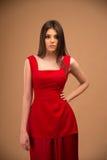 Retrato de una mujer hermosa en alineada roja Imagen de archivo libre de regalías