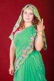 Retrato de una mujer hermosa en sari Imágenes de archivo libres de regalías