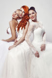 Retrato de una mujer hermosa tres en vestido de boda Imágenes de archivo libres de regalías