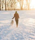 Retrato de una mujer joven con el perro en paseo del invierno Foto de archivo libre de regalías