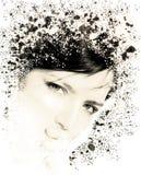 Retrato de una mujer joven con un efecto del decaimiento Imagen de archivo libre de regalías