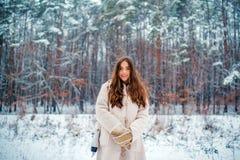 Retrato de una mujer joven en la nieve que intenta calentarse Mujer joven de la belleza alegre que se divierte en parque del invi imagen de archivo libre de regalías