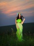 Retrato de una mujer joven hermosa en el fondo de la puesta del sol Fotos de archivo