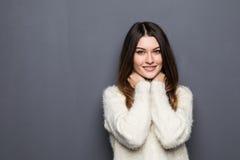 Retrato de una mujer joven muy feliz Imagen de archivo