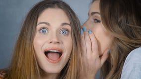Retrato de una mujer joven que dice a su amigo un secreto en estudio almacen de metraje de vídeo
