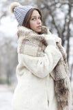 Retrato de una mujer joven y hermosa en un abrigo de pieles con el casquillo a Imagen de archivo libre de regalías