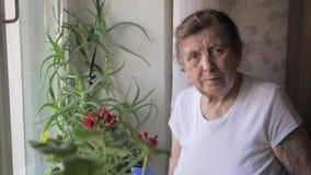 Retrato de una mujer mayor con las arrugas que se colocan en la ventana con las flores almacen de metraje de vídeo