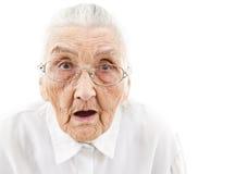 Abuela con la boca abierta Imagenes de archivo