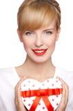 Retrato de una mujer rubia hermosa Imágenes de archivo libres de regalías