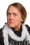 Retrato de una mujer unpleased foto de archivo libre de regalías
