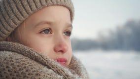 Retrato de una niña en bufanda y sombrero del punto en un fondo de un parque de la nieve Muchacha del niño hermoso en una mirada  almacen de metraje de vídeo