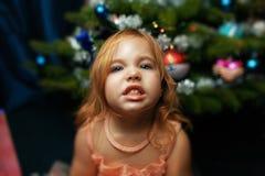 Retrato de una niña en la Navidad con el árbol de navidad Fotografía de archivo