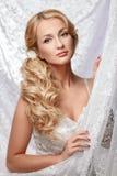 Retrato de una novia hermosa en un vestido blanco Foto de archivo libre de regalías