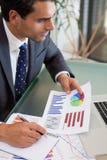 Retrato de una persona de las ventas que estudia estadísticas Imagen de archivo libre de regalías