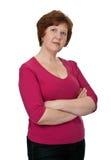 Retrato de una señora mayor en alineada roja Imágenes de archivo libres de regalías