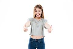 Retrato de una situación sonriente feliz de la muchacha Imagen de archivo