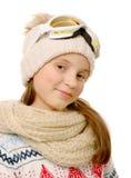 Retrato de una snowboard feliz de la chica joven Foto de archivo