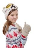 Retrato de una snowboard feliz de la chica joven Imagen de archivo libre de regalías