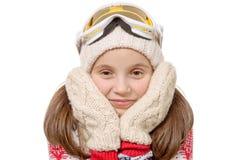 Retrato de una snowboard feliz de la chica joven, aislado en blanco Imagen de archivo libre de regalías