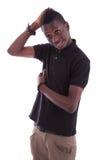 Retrato de una sonrisa africana joven del adolescente Imágenes de archivo libres de regalías