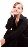 Retrato de una sonrisa de la mujer Foto de archivo libre de regalías
